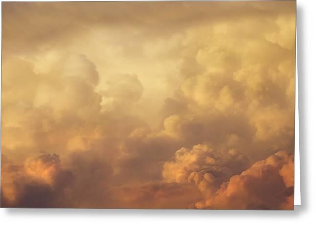 Colorful Orange Magenta Storm Clouds At Sunset Greeting Card