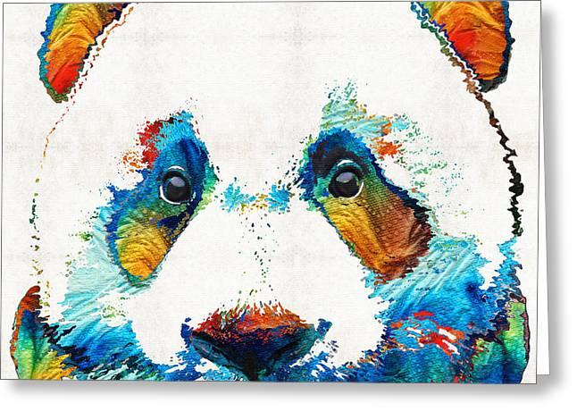 Colorful Panda Bear Art By Sharon Cummings Greeting Card