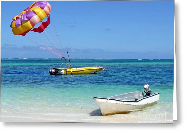 Greeting Card featuring the photograph Colorful Parachute - Waiting To Parasail by Val Miller