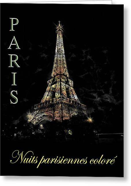 Colorful Paris At Night Greeting Card by Cecil Fuselier
