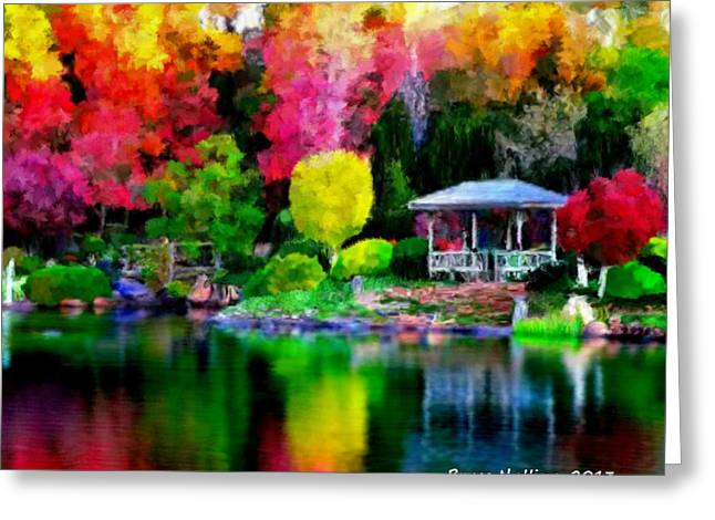 Greeting Card featuring the painting Colorful Park At The Lake by Bruce Nutting
