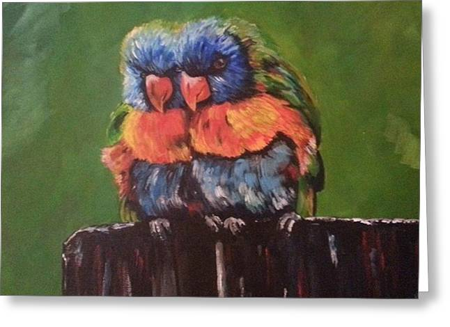 Colorful Parrots Greeting Card