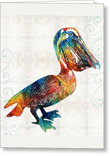 Colorful Pelican Art 2 By Sharon Cummings Greeting Card by Sharon Cummings