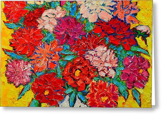 Colorful Peonies Greeting Card by Ana Maria Edulescu