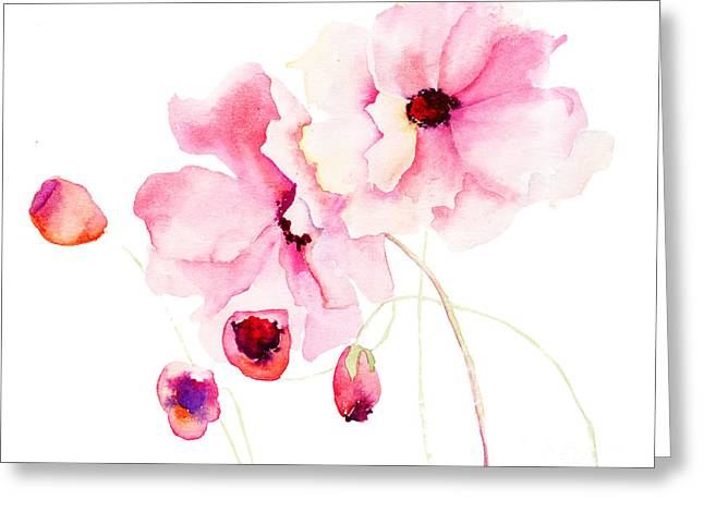Colorful Pink Flowers Greeting Card
