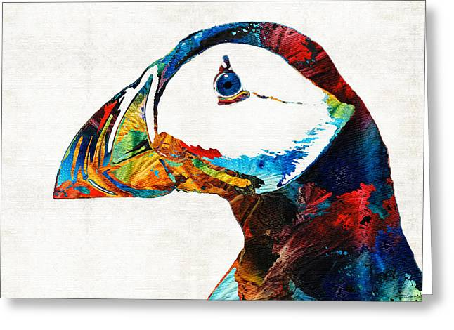 Colorful Puffin Art By Sharon Cummings Greeting Card