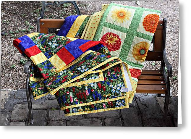 Colorful Quilts Greeting Card by Linda Phelps