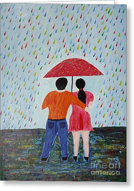 Colorful Rain Greeting Card by Jnana Finearts