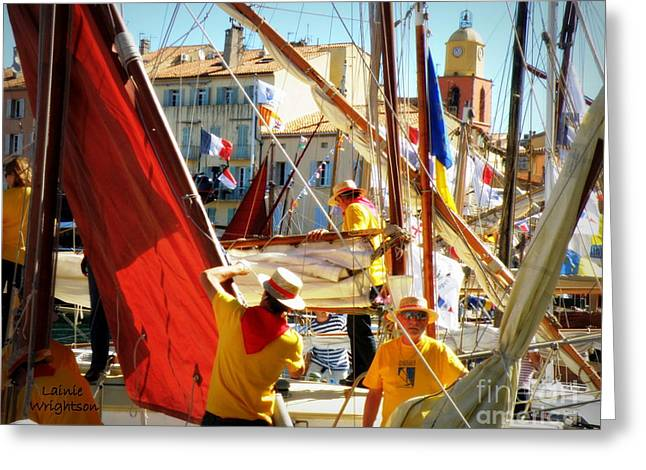 Colorful Regatta Greeting Card by Lainie Wrightson