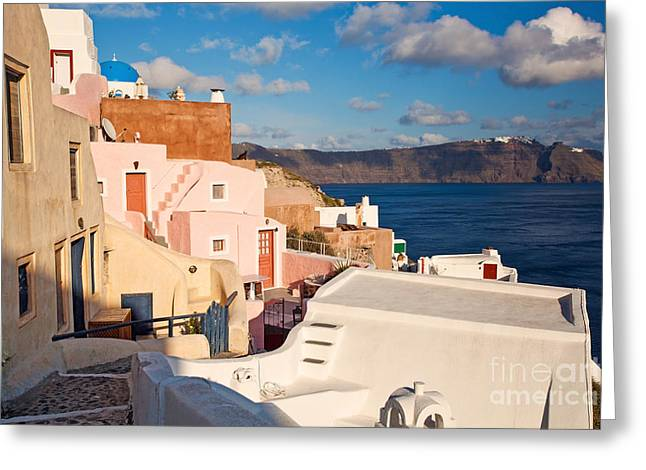 Colorful Residential Town Greeting Card by Aiolos Greek Collections