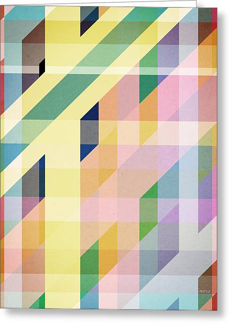 Colorful Retro Stripes Collage Greeting Card by Phil Perkins
