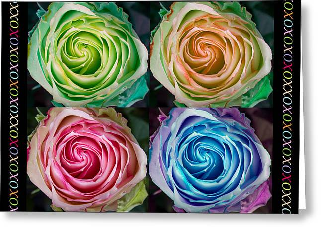 Colorful Rose Spirals Happy Mothers Day Hugs And Kissed Greeting Card by James BO  Insogna