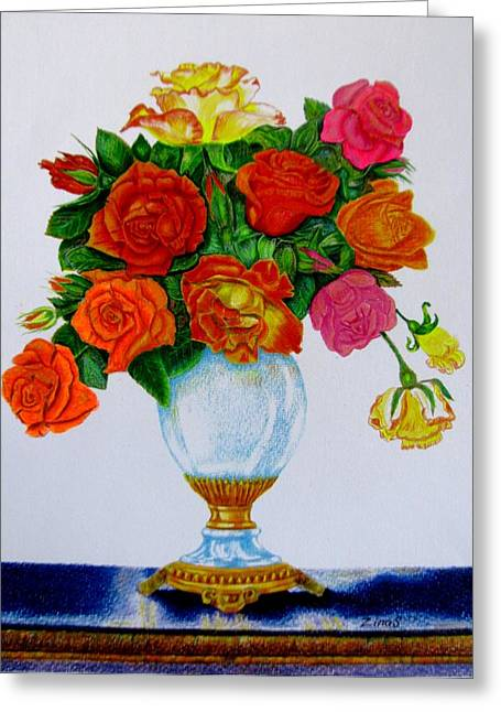 Colorful Roses Greeting Card by Zina Stromberg