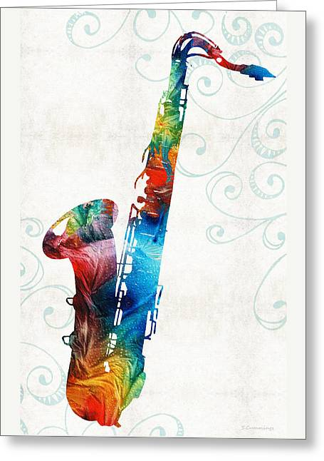Colorful Saxophone 3 By Sharon Cummings Greeting Card