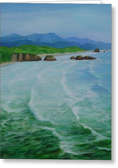Colorful Seascape Oregon Cannon Beach Ecola Landscape Art Painting Greeting Card by Elizabeth Sawyer