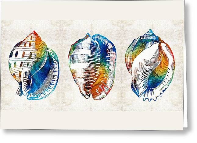 Colorful Seashell Art - Beach Trio - By Sharon Cummings Greeting Card by Sharon Cummings