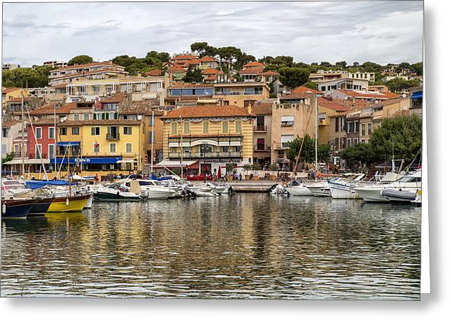 Colorful Seaside Town In France Greeting Card by Georgia Fowler