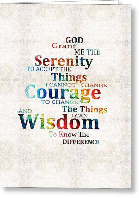 Colorful Serenity Prayer By Sharon Cummings Greeting Card