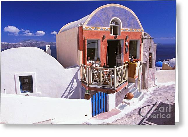 Colorful Shops In Oia Greeting Card by Aiolos Greek Collections