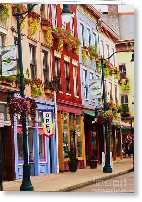 Colorful Shops Greeting Card by Jennifer Kelly