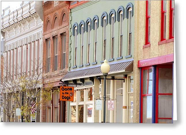 Colorful Shops Quaint Street Scene Greeting Card by Ann Powell