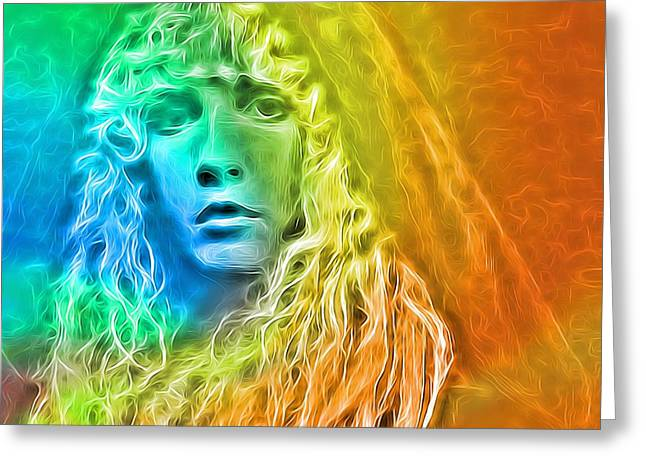 Colorful Stevie Nicks Greeting Card by Dan Sproul