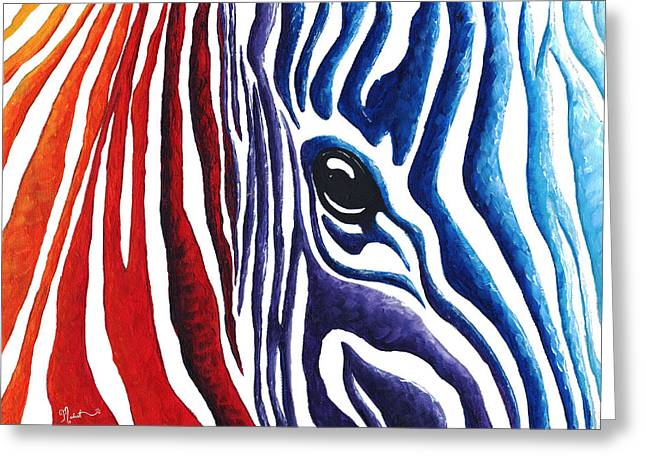 Colorful Stripes Original Zebra Painting By Madart Greeting Card