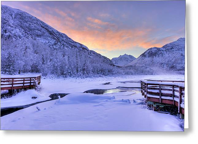 Colorful Sunrise Over A Stream Greeting Card by Lucas Payne