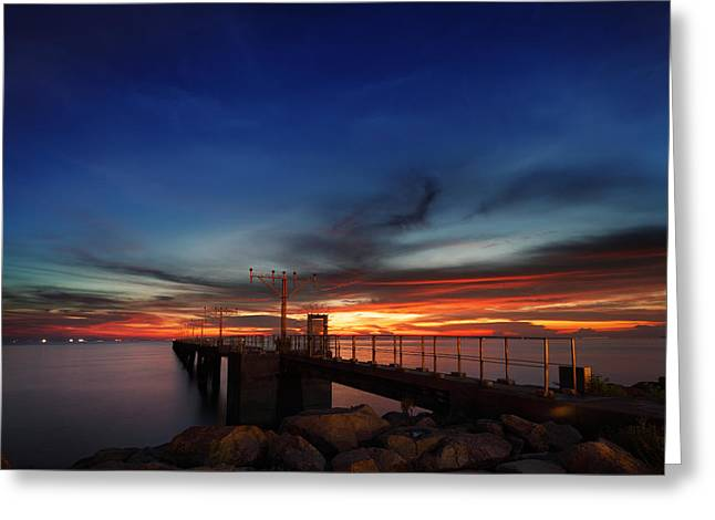 Greeting Card featuring the photograph Colorful Sunset At Hong Kong Airport by Afrison Ma