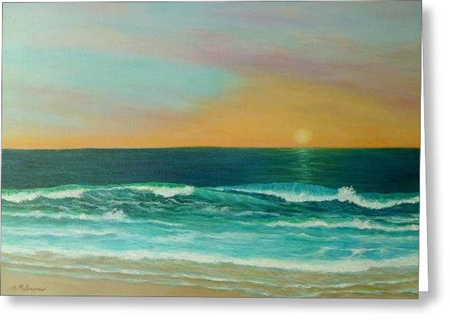 Colorful Sunset Beach Paintings Greeting Card by Amber Palomares