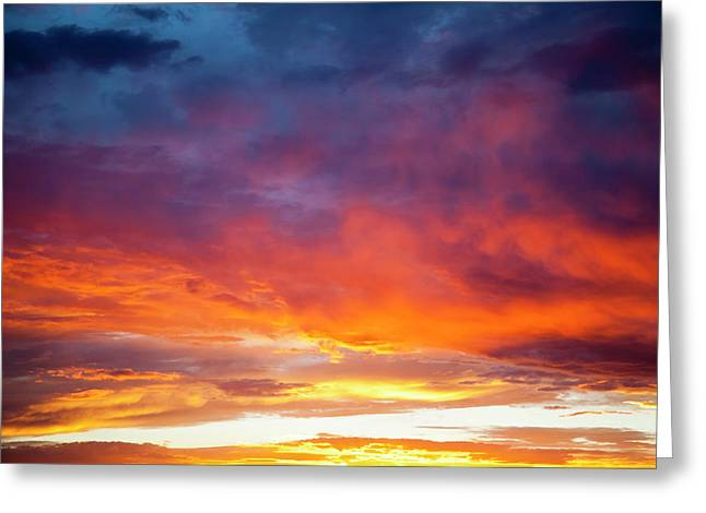 Colorful Sunset Blossoms Across A New Greeting Card