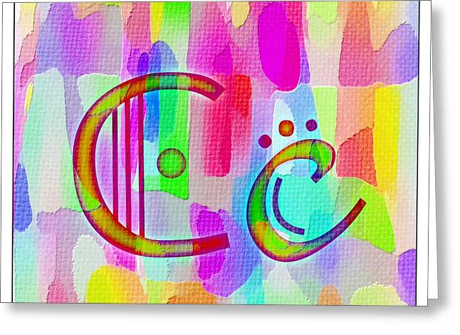 Colorful Texturized Alphabet Cc Greeting Card