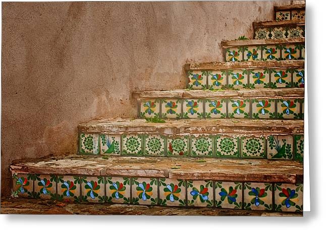 Colorful Tile Steps In San Antonio Greeting Card by David and Carol Kelly