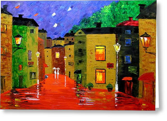 Colorful Town Greeting Card by Mariana Stauffer