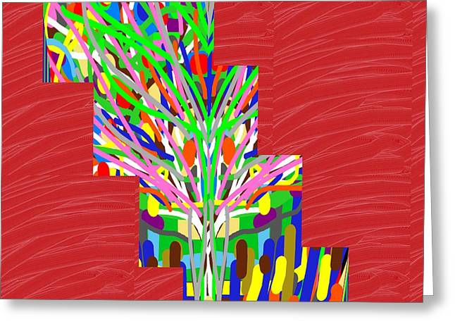 Colorful Tree Of Life Abstract Red Sparkle Base Greeting Card by Navin Joshi