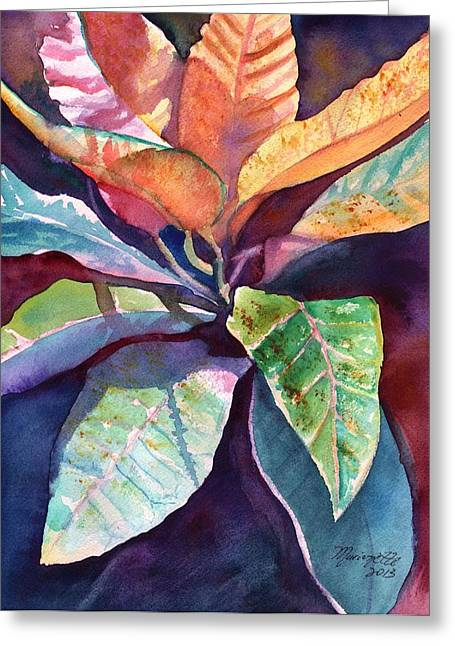 Colorful Tropical Leaves 3 Greeting Card