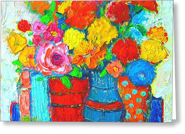 Colorful Vases And Flowers - Abstract Expressionist Painting Greeting Card