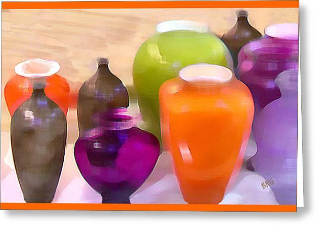 Colorful Vases I - Still Life Greeting Card