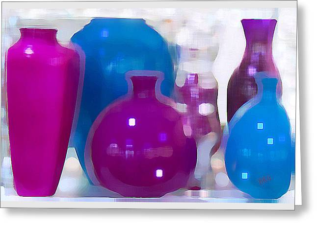Colorful Vases II - Still Life Greeting Card by Ben and Raisa Gertsberg