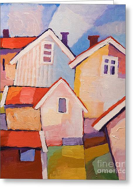 Colorful Village Greeting Card by Lutz Baar