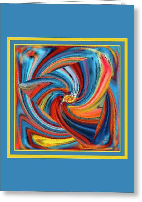 Colorful Waves Greeting Card by Ben and Raisa Gertsberg