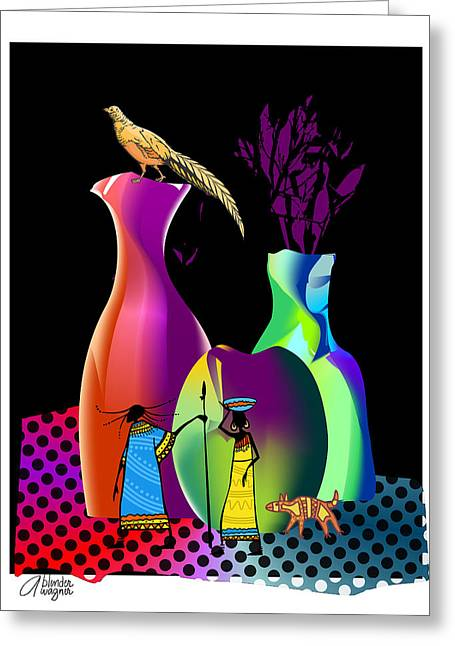 Greeting Card featuring the digital art Colorful Whimsical Stll Life by Arline Wagner