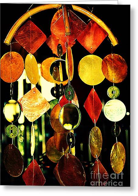 Colorful Wind Chime Greeting Card by Susanne Van Hulst