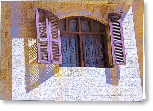 Colorful Window Shutters Greeting Card