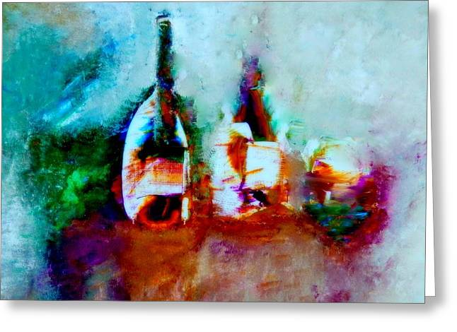 Greeting Card featuring the painting Colorful Wine Serenade by Lisa Kaiser