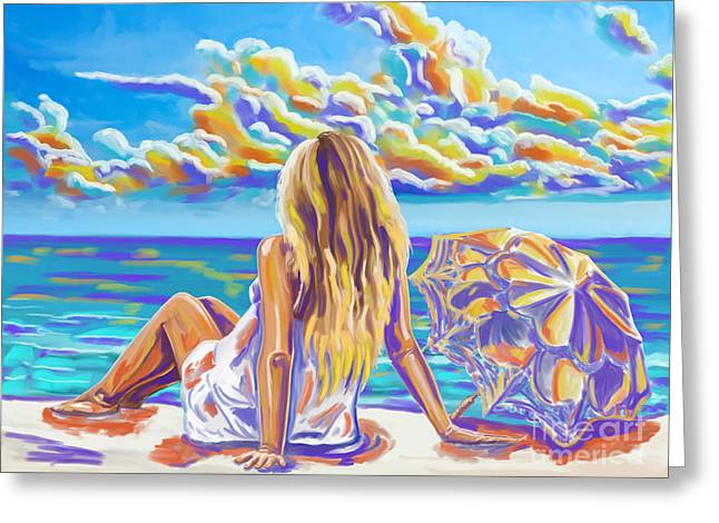 Colorful Woman At The Beach Greeting Card