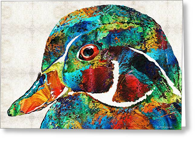 Colorful Wood Duck Art By Sharon Cummings Greeting Card