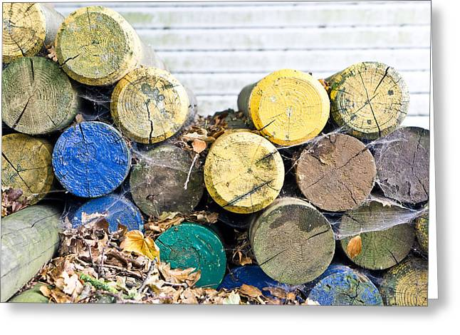 Colorful Wood Logs Greeting Card by Tom Gowanlock