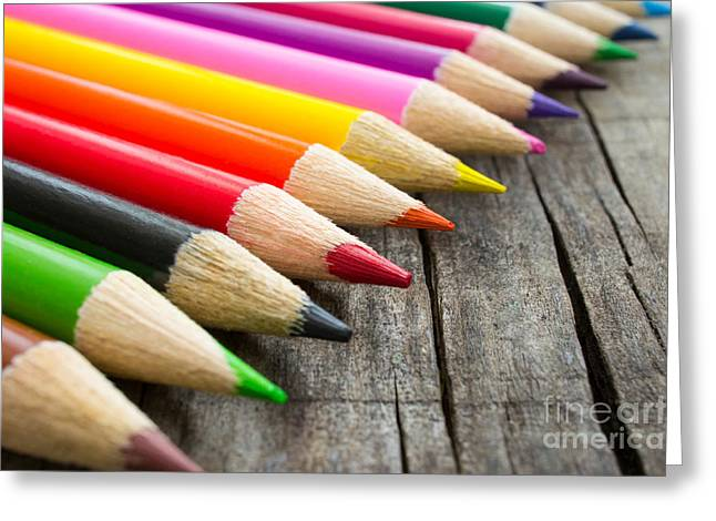 Colorful Wooden Pencil Greeting Card