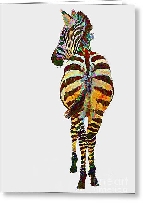 Colorful Zebra Greeting Card by Teresa Zieba